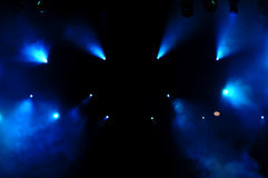 Blue Stage Lights. At a live concert royalty free stock photos