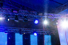 Blue stage lights during the rain Royalty Free Stock Photos