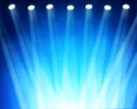 Blue stage spotlights. Illustration of blue stage spotlights stock photos