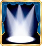 Blue stage spots. Empty stage with blue curtain and three spots Royalty Free Stock Image