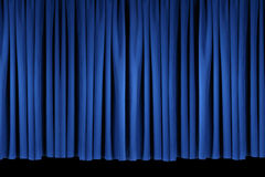 Blue Stage Theater Drapes Lit With Stagelights Stock Images