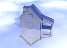 Blue Stainless Steel House. Model on Blue-Sky Background with Reflection Concept Cool Clean Modern Stock Photography
