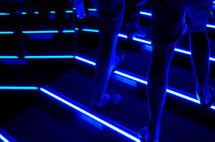 The blue stairs. Detail of a night stairs Stock Images
