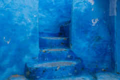 Blue stairs and door. Traditional blue stairs and wall, Chefchaouen, Morocco Royalty Free Stock Photography