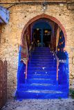 Blue stairs to the mosque, Chefchaouen, Morocco Royalty Free Stock Photo