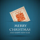 Blue stamp christmas card Stock Photo