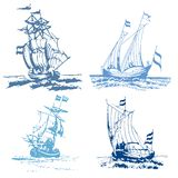 Blue stamp ships Royalty Free Stock Images