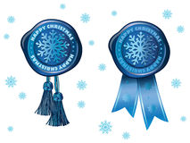 Blue stamp with snowflake Stock Photography