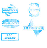 Blue stamps collection Royalty Free Stock Images