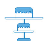 Blue stand birthday cake cartoon Royalty Free Stock Images