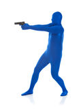 Blue: Standing in Gun Stance Stock Photo
