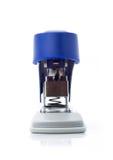 Blue stapler. Plastic stapler blue, white background Royalty Free Stock Images