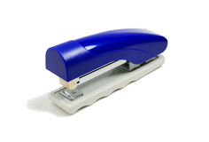 Blue stapler. Close up of a blue shiny stapler over white Royalty Free Stock Images