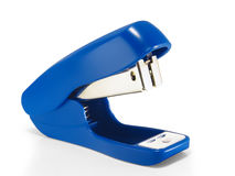 Blue stapler closeup. On a white background stock photos