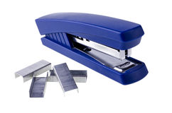 Blue stapler, isolated over white Stock Images