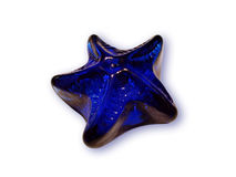 Blue star. Blue vitreous star on white background, isolated Stock Photo