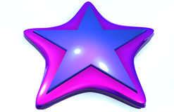Blue star. Computer graphic of a shiny blue magenta star on a white background Royalty Free Stock Images
