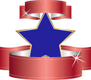 Blue star. With red ribbons Royalty Free Stock Images