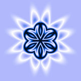 Blue Star. An abstract illustration of a blue star on a pale blue background stock illustration