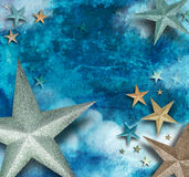 Blue Star Art Holiday Background. A blue star background for a holiday, fantasy or magic theme. There are sparkling stars with shadows and the backdrop is rough Stock Images