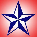 Blue Star Background. Red white background with blue star royalty free illustration