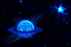 Blue star on black background. Astronomy, blue star on black background Stock Images