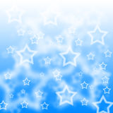 Blue star bokeh background. Blue and white star background Stock Photos