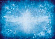 Blue star burst background. Stock Photos