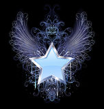Blue star on a dark background. Blue, silver star with angel wings outline, decorated with a drop of blue paint and a fancy pattern Stock Photos