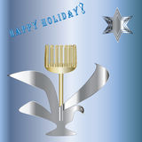 Blue Star of David menorah greeting happy holiday inscription light blue  background Stock Images