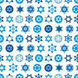 Blue Star of David symbols collection. Jewish seamless pattern. Judaism sign for textile, wallpaper, web page background, Jewish holidays design. Vector Royalty Free Stock Images