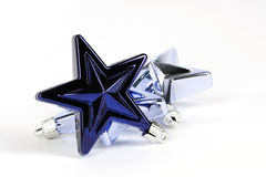 Blue star decorations for christmas tree. On white background Royalty Free Stock Images