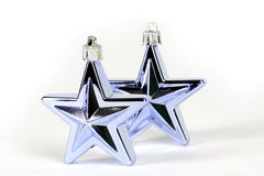 Blue star decorations for christmas tree. On white background Stock Photography