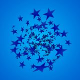 Blue star explosion. Cartoon illustration. Depth of field. Blue star explosion. Depth of field vector illustration