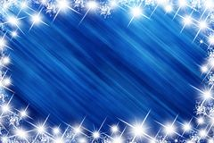 Blue star holiday. Abstract with stars and snow royalty free stock image