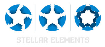 Blue star logo. Elements of the logo, the star Stock Photography