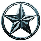 Blue Star Logo Metal. Blue Star Logo in iron metal 3D effect on white isolate background Royalty Free Stock Image