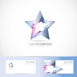 Blue star logo metal Royalty Free Stock Photo