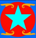 Blue Star Logo. A nicely edited logo of a blue star in a red circle vector illustration
