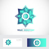 Blue star logo. Vector company logo icon element template star abstract blue 3d games media Stock Image