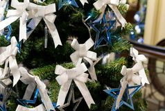 Blue star many white bow Christmas decorations on festive fluffy branches stock images