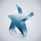 Blue star with reflection Stock Image