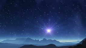 The blue star in the sky alien planet. In the dark background of space abyss bright blue star. Slowly floating nebula. The sky is dotted with stars. The camera royalty free illustration