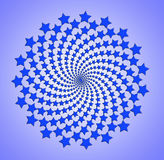 Blue star spiral, rotating abstract pattern Stock Photography