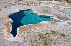 Blue star spring in Yellowstone national park, USA. stock photos