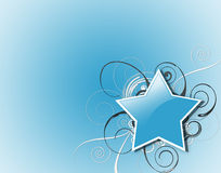 Blue Star and Swirls Stock Photos