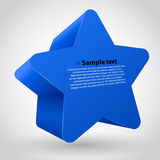 Blue  star with text. 3d  star with text. Blue variant Royalty Free Stock Images