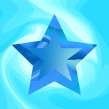 Blue star vector background. Blue abstract star on wavy background. Vector illustration Royalty Free Stock Image