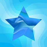 Blue star vector background. Blue abstract star on wavy background. Vector illustration Royalty Free Stock Photography