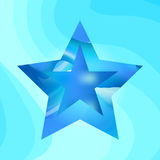 Blue star vector background. Blue star on luminous wavy background. Shining and contemporary vector illustration Royalty Free Stock Photos